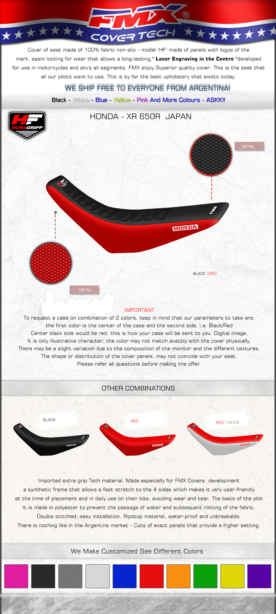 Dirt Bike Motorcycle Seat Cover Honda XR650R XR 650 R NON Slip  FMX HF